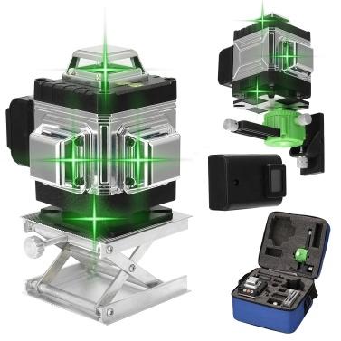 Multifunktionaler 16-Linien-Laser Level 3 ° Selbstnivellierendes Funktionsnivellierungswerkzeug Omnidirektionaler Boden- und Wandaufkleber mit vertikaler horizontaler schräger Linie
