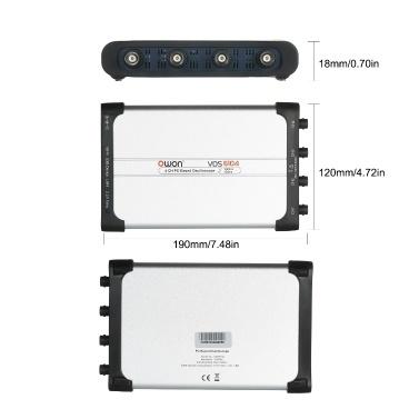 Owon VDS6104 USB PC Virtual Oscilloscope 4 Channel 100 MHz 1Gsa/s 8bits Portable ADC Type-C Digital USB Oscilloscopes PC Scopemeter