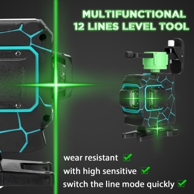 Multifunctional 3D 12 Lines Laser Level Tool Vertical Horizontal Lines with 3° Self-leveling Function