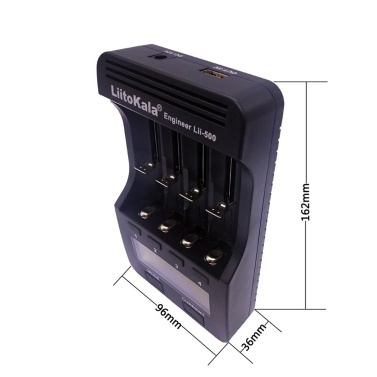 Liitokala Lii-500 Quick Battery Recharger LCD Display Button Control 4-channel Independent Recharging Battery Capacity Measuring Function for 18650 26650 14500 AA AAA batteries