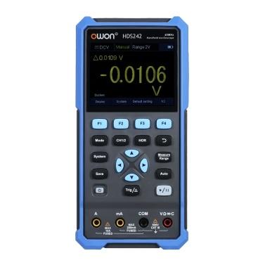 OWON Handheld-Oszilloskop-Multimeter 2CH 40MHz Bandbreite 20000 Zählt 2-in-1-Digital-Scope-Messgerät mit 3,5-Zoll-LCD-Farbbildschirm für die Leistungserkennung der Automobilwartung EU-Stecker