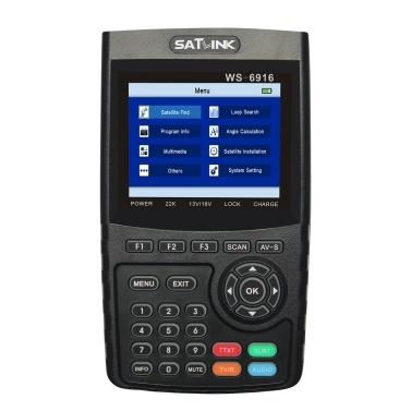 WS-6916 Digital Satellite Finder Meter HD Digital Satellite TV Finder Digital Satellite Signal Finder Meter Carrying Pouch Strap