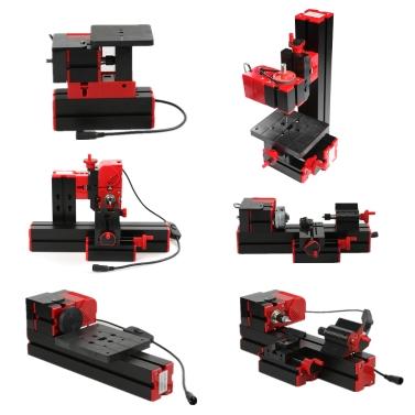 Mini DIY 6 in 1 Multi-functional Motorized Transformer Multipurpose Machine Jigsaw Grinder Driller Plastic Metal Lathe Wood   Lathe Drilling Sanding Turning Milling Sawing Machine Tool Kit