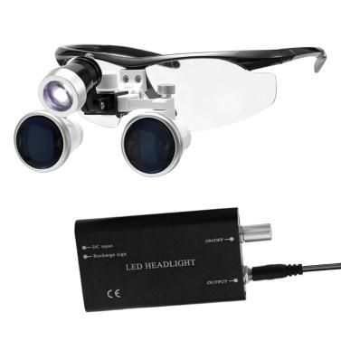 Lente d'ingrandimento portatile 3.5X 420mm Occhialini binoculari medici chirurgici Occhiale a vetro ottico Lenti d'ingrandimento + 3W LED Faro