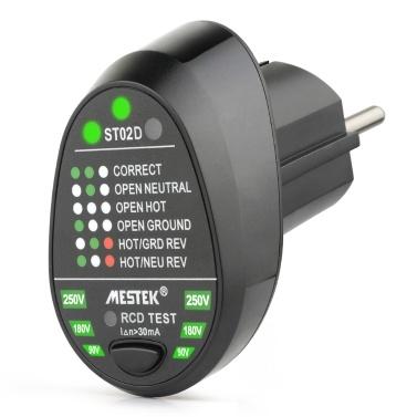MESTEK Advanced RCD Testeur de prises électriques Test de fil de terre sous tension neutre automatique Circuit de détection de polarité Mur Détecteur de fiche UE Détecteur de fuites Test de fuite électrique avec affichage de rétroéclairage de tension