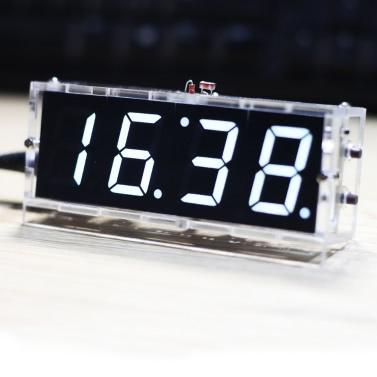 Compacto de 4 dígitos DIY relógio de LED Digital Kit luz controle temperatura Data Display de tempo com processo transparente