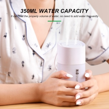 KKmoon USB Humidifier 350ml Two Outlets Spray Humidifier with Colorful Night Light for Home Office Dormitory Car