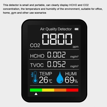 Portable CO2 Detector Air Quality Detector Intelligent Air Detector Temperature And Humidity Sensor Tester Carbon Dioxide Monitor TVOC Formaldehyde Detector HCHO Detector