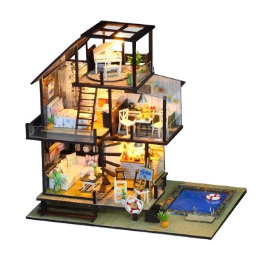 Assemble DIY Holiday House Toy Wooden Miniatura Kit Dollhouse Toys with Furniture Kit LED Light Christmas Birthday Gift