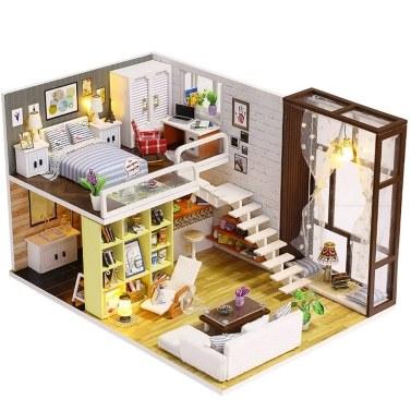Zusammenbauen DIY Puppenhaus Spielzeug Holz Miniatura Kit Puppenhaus Spielzeug mit Möbel Kit LED Weihnachten Geburtstagsgeschenk