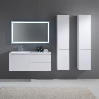 6 Meuble Salle De Bain Simple Vasque   Blanc Laqué Brillant