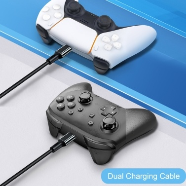 2 in 1 Charge Cable Aluminum Alloy Shell Quick Safe Charge Replacement for PS5 Controller