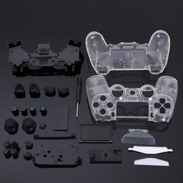 DIY Transparent Shell Kit Housing Case Assembly Crystal Handle Replacement for PS4 PS5 Controller