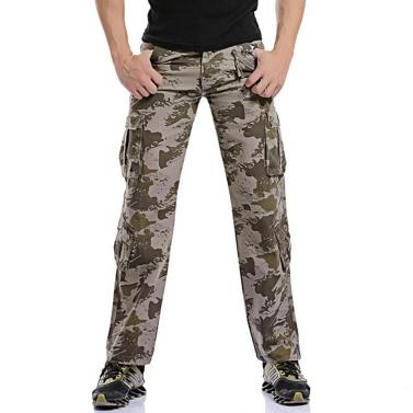 Herren Cargo-Hosen Camouflage Military Außen lange Hosen Tactical beiläufige Baumwollhose Khaki / Grün