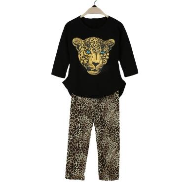Neue Mode-Mädchen Bekleidung Sets T-shirt Leggings Leopard Kopf Print Runde Hals Langarm-niedlich-Anzug