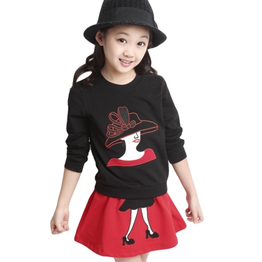 Süße Mädchen Zweiteiliges Set Character Patchwork Langarm Sweatshirt elastische Taille Minirock Outfits rot/schwarz