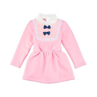 Niedliche Baby-Mädchen Kleid Rollkragen Lace Bow Knot elastische Taille Schlüsselloch Schaltfläche zurück Prinzessin Kleid gelb/Pink/Rose