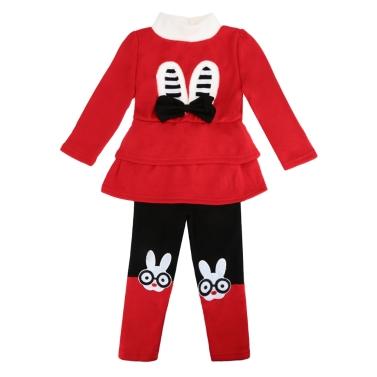 Nettes Baby Mädchen Zweiteiliges Set Bogen Cartoon Muster Langarm Sweatshirt elastische Taille Hose Fleece Warm Outfits rot/grau