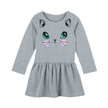 Cute Kids Cotton Cartoon Cat Print Dropped Waist Round Neck Long Sleeve Children Girls