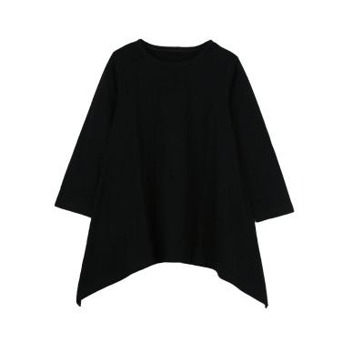 Fashion Kids Cotton A-Line Irregular Hem Round Neck Long Sleeve Loose Children Girls