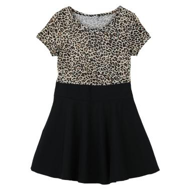 Mode niedlichen Kinder Mädchen Kleid Leopard Print rund Hals kurze Ärmel Krepp-Minikleid Schwarz