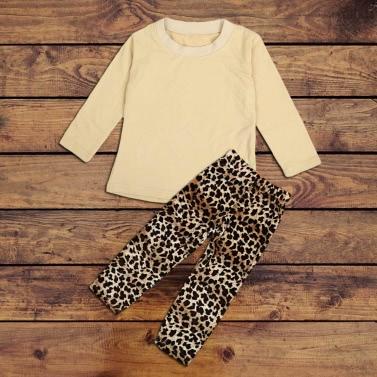 Neue Girls Kids Zweiteiliges Set O-Neck Langarm oberste elastische Taille Leopard Hosen Outfits Beige