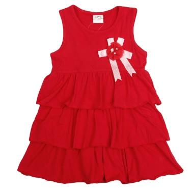 New Cute Girls Kids Dress Ruffles Hem Flower Brooch Solid O-Neck Sleeveless Sweet Dress Red