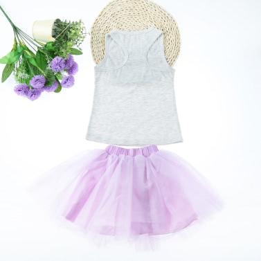 Fashion Kids Baby Girls Two-Piece Set Solid Vest Sleeveless T-Shirt Lace Mesh Tulle Tutu Bubble Skirt Outfits Purple