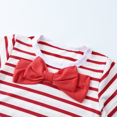 Girls Kids Two-Piece Set Contrast Stripe Bow O-Neck Top T-Shirt Tutu Skirt Leggings Culottes Suit Outfit Sets