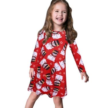 Kids Girls Christmas Print Dress Long Sleeves O Neck Children Party Princess Dress Costume T-shirt