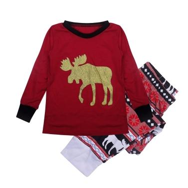 Kinder Jungen Mädchen Weihnachten Familie Look Pyjamas Rentier Familie Passenden Outfit Vater Mutter Kinder Baby T-shirt Hosen Set Rot
