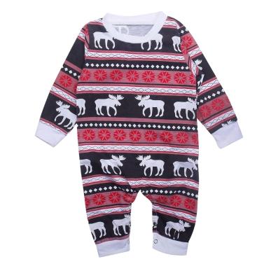 Säugling Baby Bodysuit Strampler Overall Weihnachten Familie Look Pyjamas Rentier Familie passende Outfit Vater Mutter Kinder Baby Nachtwäsche rot