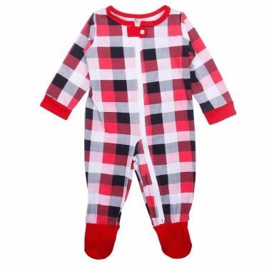 Weihnachten Familie Baby Jumpsuit Plaid Gedruckt Langarm Unisex Kleinkind Body Strampler Outfits Rot