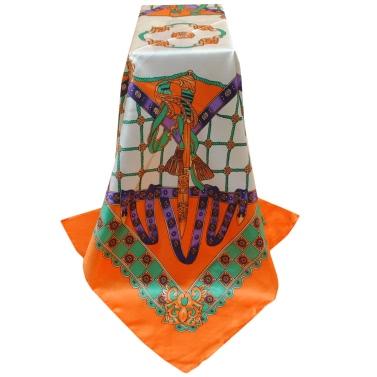 New Vintage Women Scarf Contrast Print Square Design Wraparound Thin shawl Satin Kerchief