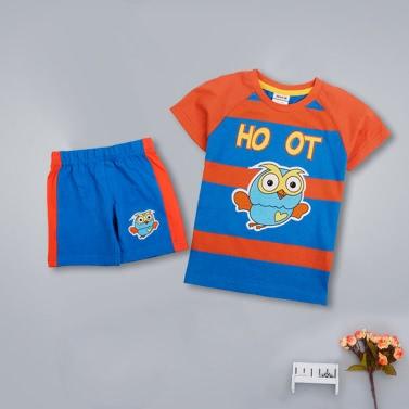 Neue Kinder Boys Baumwolle Zweiteiliges Set süße Eule gestreift O Neck Kurzarm T-Shirt Shorts Outfits Anzug blau