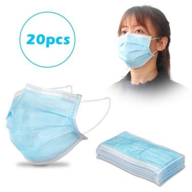 Mascarilla desechable de 3 capas de 20 piezas con elástico Earloop Antiespumante Splash Anti Dust Blue