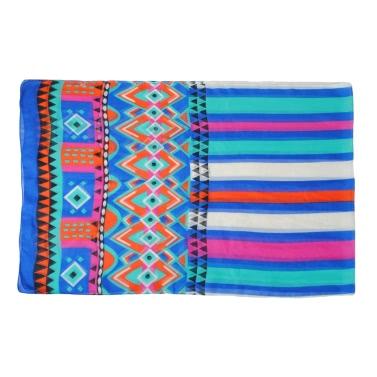 Neue Frauen-Chiffon-Schal Geometrische Blumendruck Kontrast langer dünner Pashmina Silk Schal