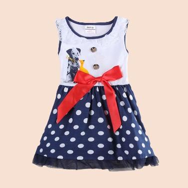 Fashion Cute Baby Kids Girl Sleeveless Dress Dot Print Bow Dog Pattern Lace Princess Toddler Dress White