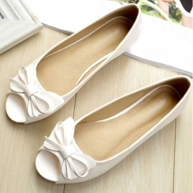 Abody Women Summer Slip-On Flats Sandals Anti-Slip Soft Sole Solid Color Bowtie Lounging Casual Flats White