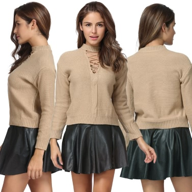 Women Knitted Hollow Out Pull Over Sweater Lace Up Dropped Shoulder Long Sleeve Knit Crop Top