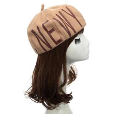 Neue Mode Frauen Beanie Buchstabe Print Runde Krone fühlte Maler Hut Barett Kappe Kopfbedeckung