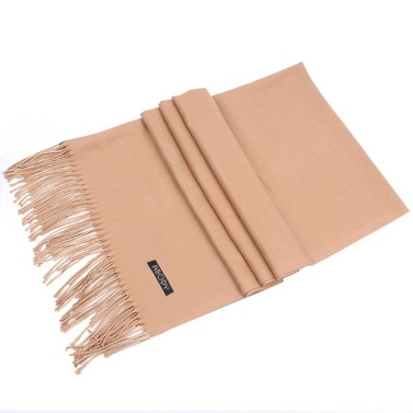 Abody Women Warm Knitted Scarf Soft Comfy Fringed Hem Solid Scarf Winter Outdoor Shawl Scarf