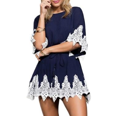Chic Floral Lace Splice Round Neck Half Sleeve Self-tie Belt Backless Mini Dress