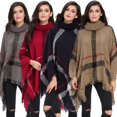 New Winter Women Knitted Poncho Cape Coat Stripe Tassel Turtleneck Warm Shawl Pullover Cloak Sweater