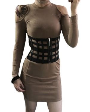 Sexy Frauen Korsett Gürtel PU Leder Höhle aus Reißverschluss elastischen Cincher breiten Bund Taille Strap Schwarz