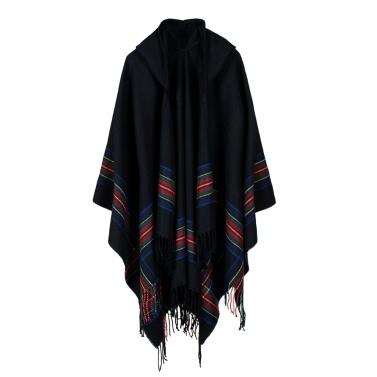 New Women Tricoté Poncho Cape à capuche Stripe oversize Cardigan Sweater Long Shawl Echarpe Cashmere Pashmina