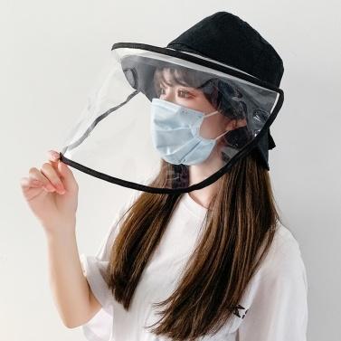 Sombrero de cubo de mujer Protector facial extraíble Visor transparente Máscara transparente Anti Splash Sombrero de sol de verano Pesca Playa Gorras de viaje Sombreros casuales