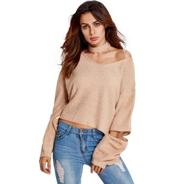 New Women Knitted Sweater Off-Shoulder V-Neck Zipper on Sleeve Choker Knitting Warm Pullover Tops