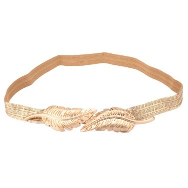 Vintage Women Belt Leaves Clasp Front Stretch Skinny Elastic Belt Waist Strap Gold