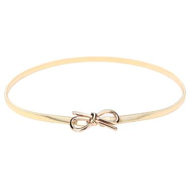 Neue Mode Frauen Gürtel Bow Verschluss vorne Strecken dünn elastischem Gürtel Bowknot Taille Armband Gold/Silber